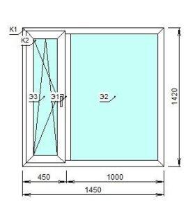 Пластиковые окна 1450х1420