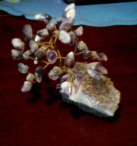 Дерево счастья,натуральный аметист,кристалы
