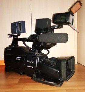 Видеокамера sony HVR HD1000, свет, рекордер, 4 акб