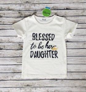 Новая футболка для девочки 100 см