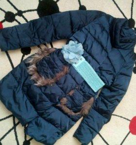 "Осенняя курточка.В подарок пояс-""цветок"""