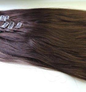 Волосы натуральные на заколках 50-55 см.