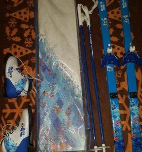 Лыжи детские беговые+ ботинки+палки+крепление