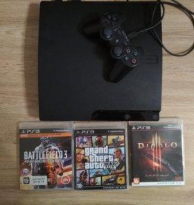 PS3 slim 320 гб+ 3игры