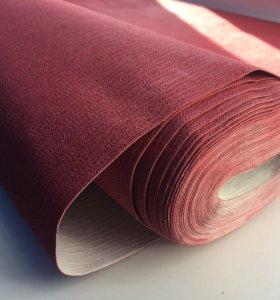 Обои красные с текстурой ткани