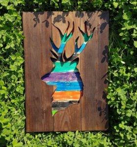 """Деревянное панно """"Олень. Яркие краски природы"""""""