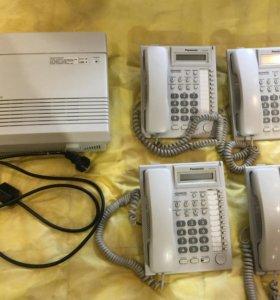 Мини атс Panasonic KX TA308 + 4 системных телефона