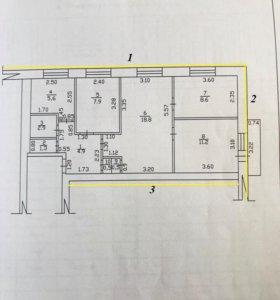 Квартира, 4 комнаты, 62.2 м²