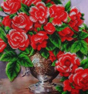 Вышивка бисером розы
