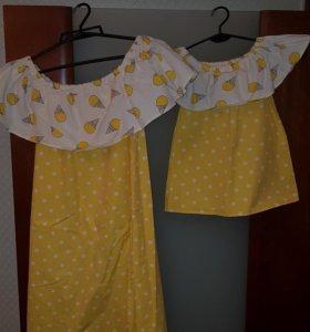Платье мама и дочь. Фэмили лук. Family look.