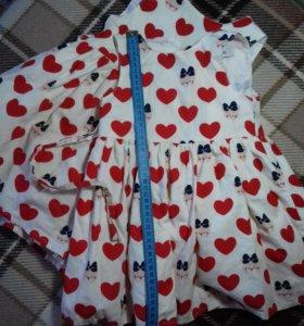 сарафан с красными сердечками