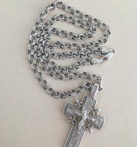 Торг  . Серебряная цепь с крестом.