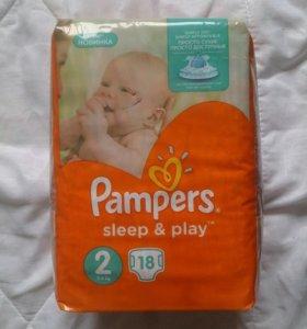 Новая упаковка Pampers 2-ка (18 шт)