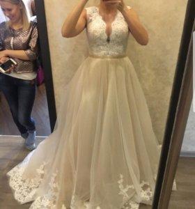 Свадебное платье, на рост 1,60-1,65, размер M,