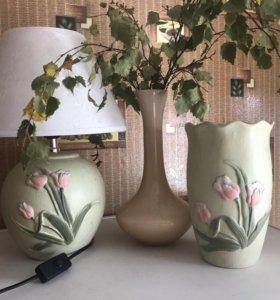 Комплект настольная лампа и ваза