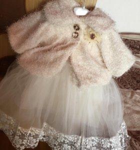 Комплект новогоднее платье +жилет+ободок