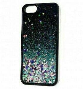 Чехол силиконовый на iPhone 5/5S плавающие блестки