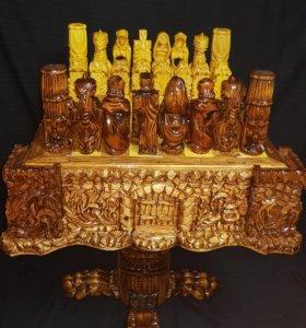 Стол шахматный с шахматами