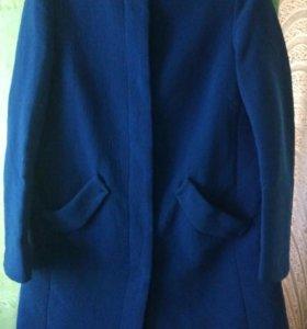 Пальто осень синее