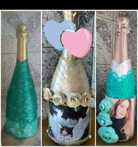 Оформление - декор бутылок на подарок