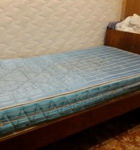 б/у Кровать + матрац, ш. 80 см дл. 200 см