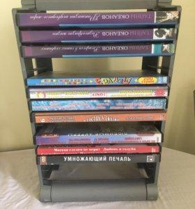 Подставка для дисков и 10 шт DVD