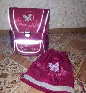 Рюкзак с ортопедической спинкой и мешок для обуви