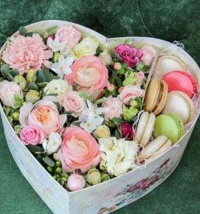 Цветы в коробке на заказ!