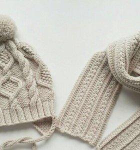 Шапка и шарф из шерсти мериноса, ручная вязка