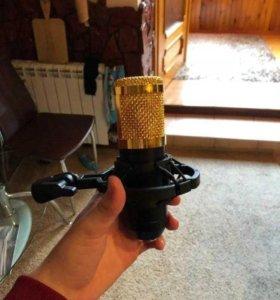 Конденсаторный микрофон с ветрозащитой и креплени