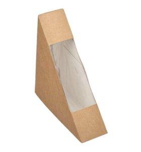 Коробочка крафт треугольник с окошком