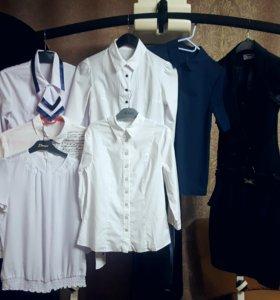 синяя школьная форма - блузки, жилетка, юбка