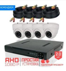 Комплект видеонаблюдения на 4 купольные камеры