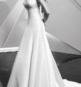 Платье в пол. Голубого цвета. Не свадебное.