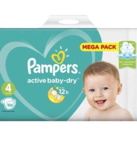 Памперсы Pampers active baby-dry 4, 106 шт.