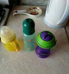 Поильник, бутылочки с соской и трубочкой