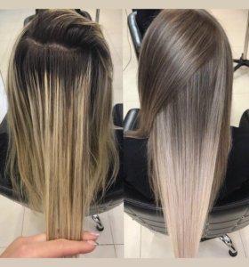 Окрашивание волос, стрижки