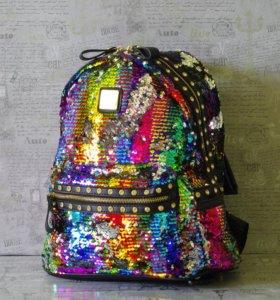 Рюкзак с пайетками разноцветный