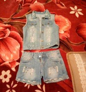 Джинсовая жилетка и шорты