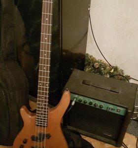 Бас гитара леворукая + бас комбик +чехол утеплен.