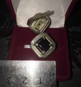 Серьги серебро-агат