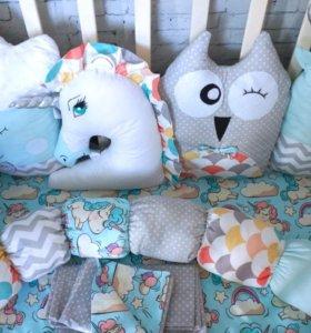 Бортики в кроватку,постельное бельё