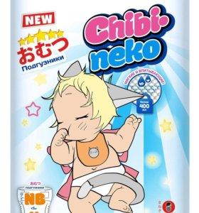 Подгузники MANEKI Chibi-neko NB (до 5 кг), 60 шт.