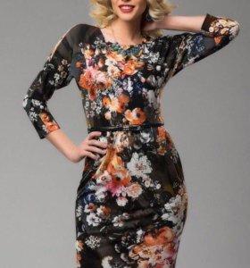 Платье весна с ремешком 44-46 новое ткань италия