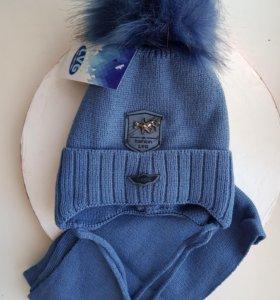 Комплект зимний шапка и шарф (новый)