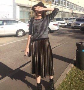 юбка бархатная плиссе