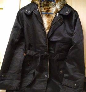 Мужское зимнее новое пальто на иск. меху, р- 48-50