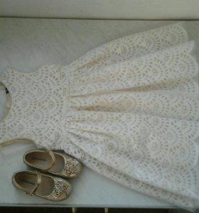 Платье и туфельки на 3-5 лет