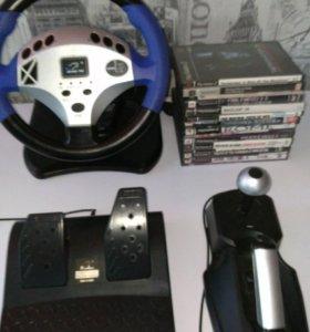 Игровой руль + 12 дисков (PS2)