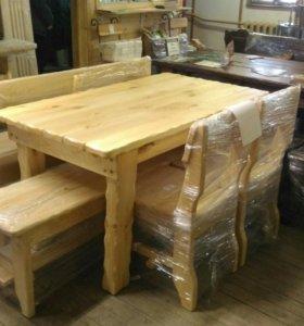 Стол, скамья, лавка, 2 стула - комплект